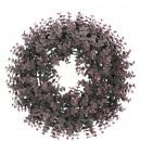 Großhandel Kunstblumen: Eukalyptus Kranz Calida, D42cm, bordo bemehlt